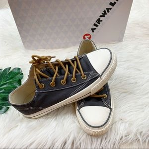 Air walk Legacee Black Flat Sneakers Lace Up Shoes